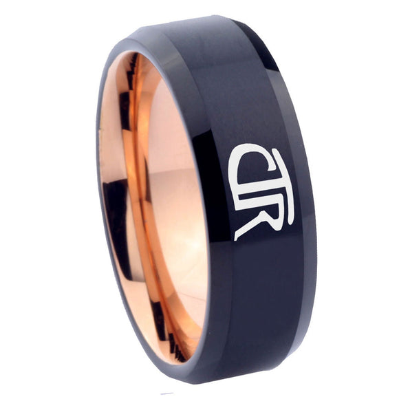 8mm CTR Design Bevel Tungsten Carbide Rose Gold Wedding Ring