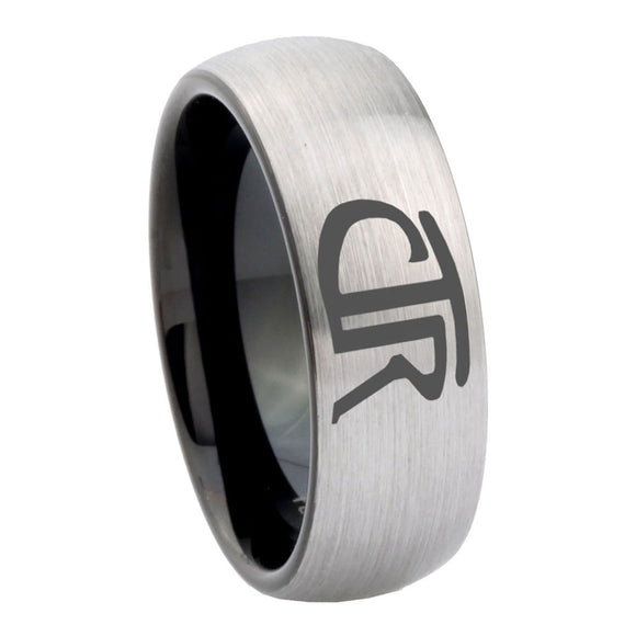 8mm CTR Design Dome Tungsten Carbide Silver Black Mens Wedding Band