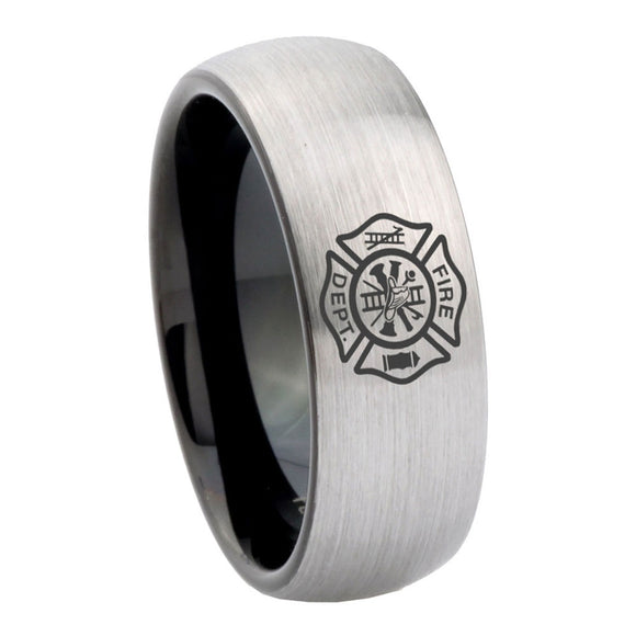 8mm Fire Department Dome Tungsten Carbide Silver Black Band Ring