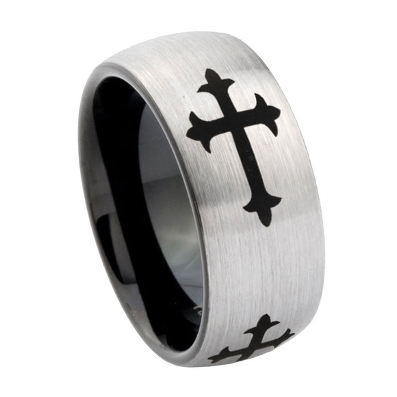 8mm Christian Cross Religious Dome Tungsten Carbide Silver Black Wedding Band Mens