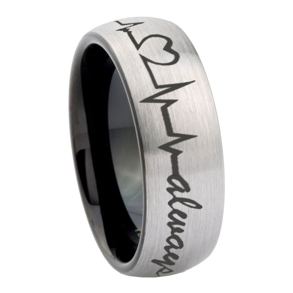 8mm Heart Beat forever Heart always more Dome Tungsten Silver Black Men's Ring