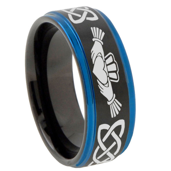 10mm Irish Claddagh Blue Step Edges Brushed Tungsten Carbide Mens Promise Ring