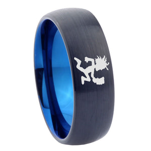 8mm Hatchet Man Dome Tungsten Carbide Blue Promise Ring