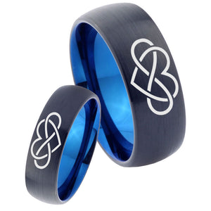 His Hers Infinity Loves Dome Tungsten Carbide Blue Mens Ring Set