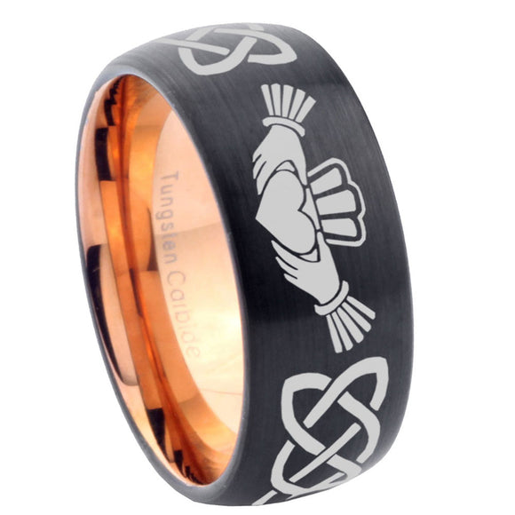 10mm Irish Claddagh Dome Tungsten Rose Gold Custom Ring for Men