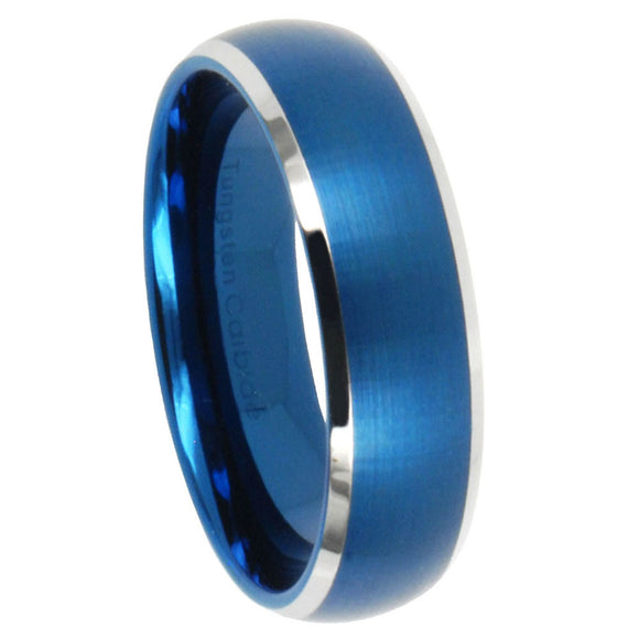 5MM Tungsten Carbide Satin Blue IP Dome Silver Edges Women Bands Ring