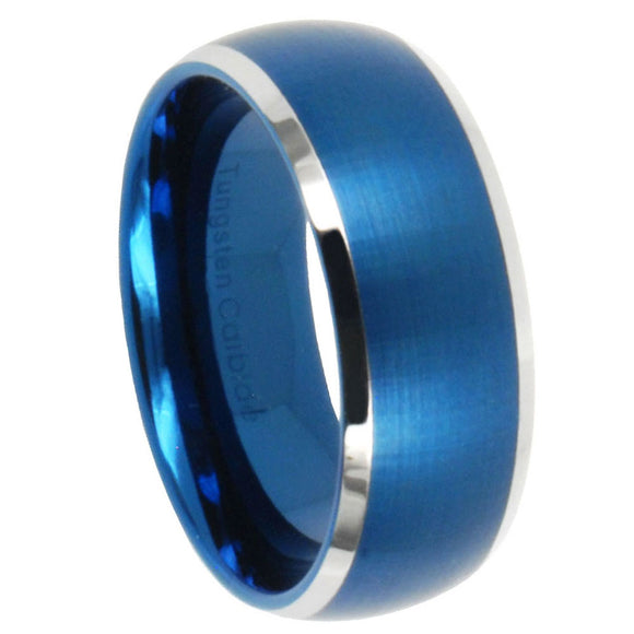 8MM Tungsten Carbide Satin Blue IP Dome Silver Edges Men Bands Ring