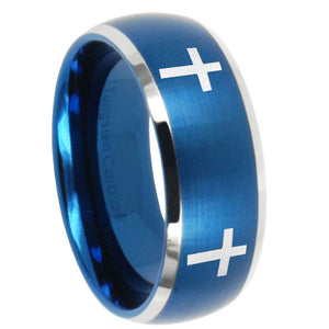 8mm Crosses Dome Brushed Blue 2 Tone Tungsten Carbide Wedding Bands Ring