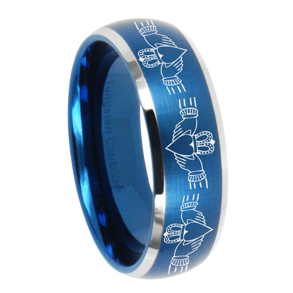 8mm Irish Claddagh Dome Brushed Blue 2 Tone Tungsten Men's Engagement Band
