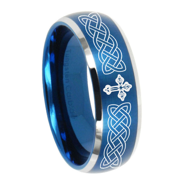 8mm Celtic Cross Dome Brushed Blue 2 Tone Tungsten Carbide Mens Engagement Ring