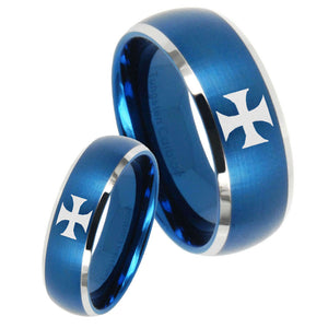 His Hers Maltese Cross Dome Brushed Blue 2 Tone Tungsten Mens Ring Engraved Set