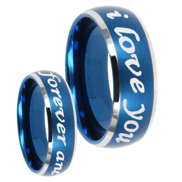 His Hers I Love You Forever and ever Dome Brushed Blue 2 Tone Tungsten Men Band Set