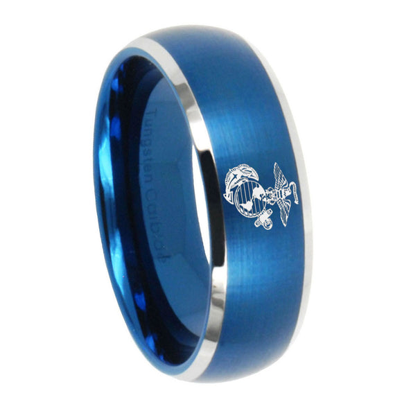 8mm Marine Dome Brushed Blue 2 Tone Tungsten Carbide Men's Bands Ring
