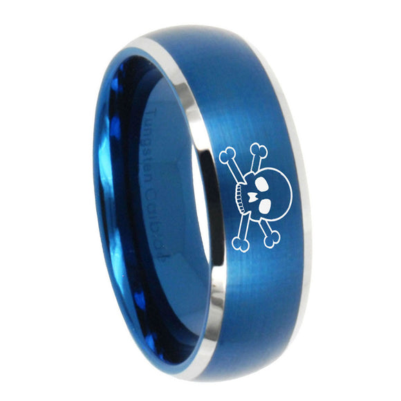8mm Skull Dome Brushed Blue 2 Tone Tungsten Carbide Custom Ring for Men