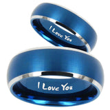 His Hers I Love You Dome Brushed Blue 2 Tone Tungsten Wedding Bands Ring Set