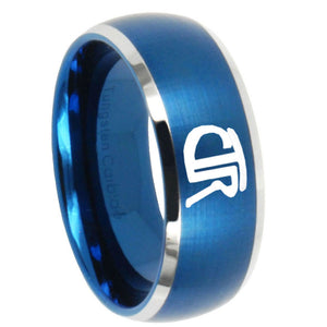 8mm CTR Dome Brushed Blue 2 Tone Tungsten Carbide Wedding Band Ring