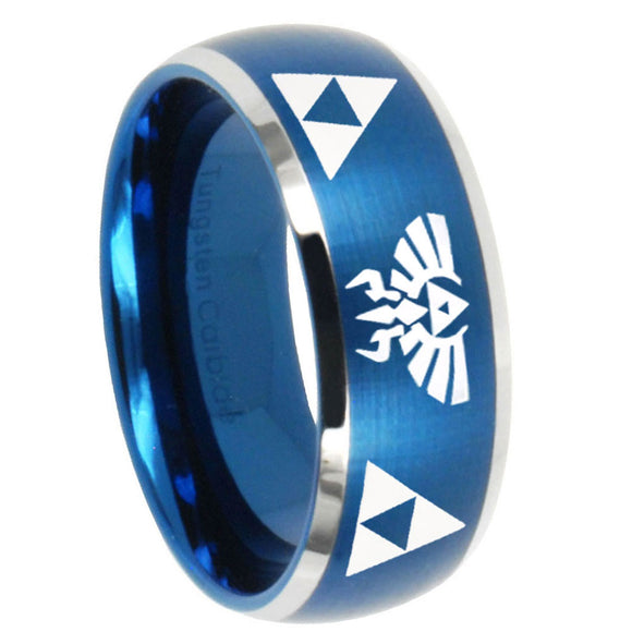 8mm Legend of Zelda Dome Brushed Blue 2 Tone Tungsten Carbide Wedding Band Mens