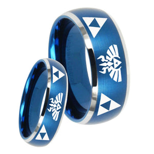 His Hers Legend of Zelda Dome Brushed Blue 2 Tone Tungsten Wedding Ring Set