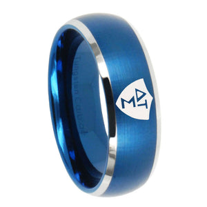 8mm Greek CTR Dome Brushed Blue 2 Tone Tungsten Carbide Men's Bands Ring
