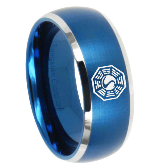 8mm Lost Dharma Dome Brushed Blue 2 Tone Tungsten Wedding Engraving Ring
