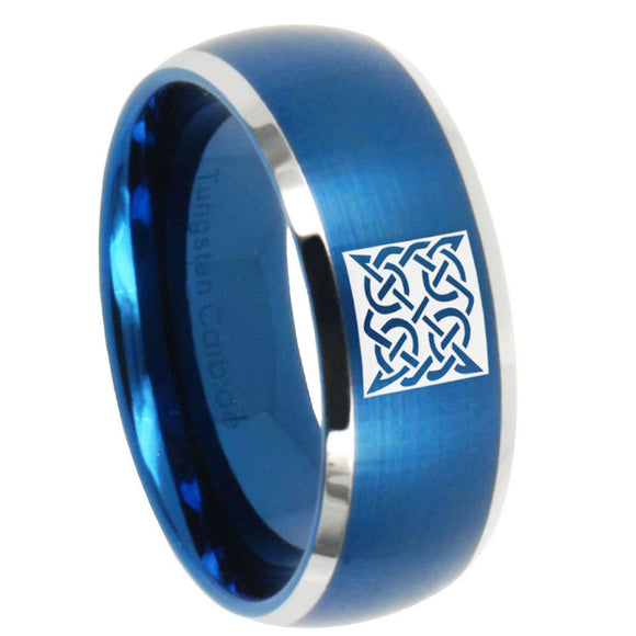 8mm Celtic Design Dome Brushed Blue 2 Tone Tungsten Carbide Promise Ring