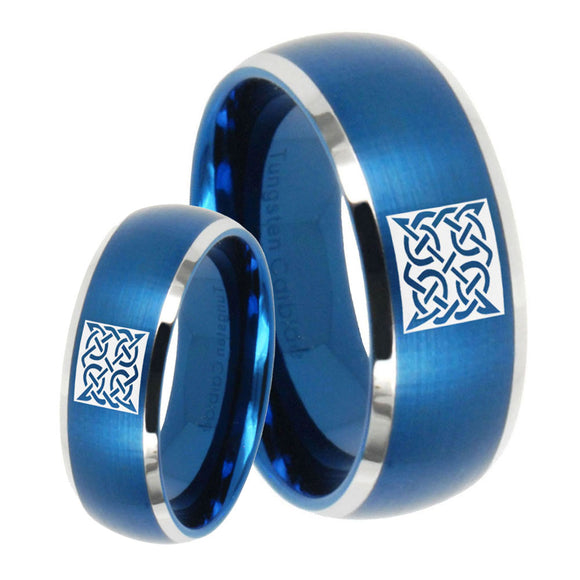 His Hers Celtic Design Dome Brushed Blue 2 Tone Tungsten Wedding Band Ring Set