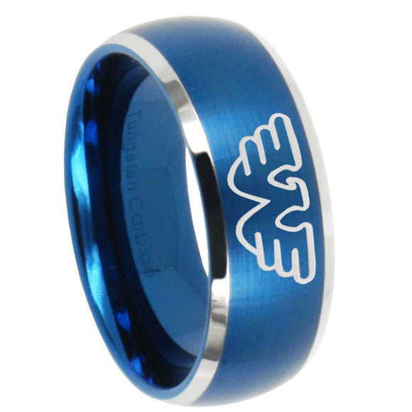 8mm Waylon Jennings Dome Brushed Blue 2 Tone Tungsten Carbide Engraved Ring