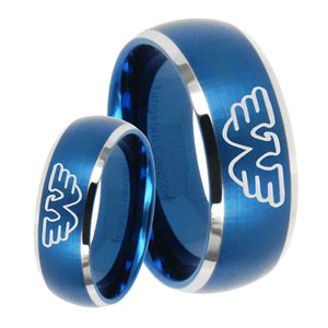 His Hers Waylon Jennings Dome Brushed Blue 2 Tone Tungsten Mens Bands Ring Set