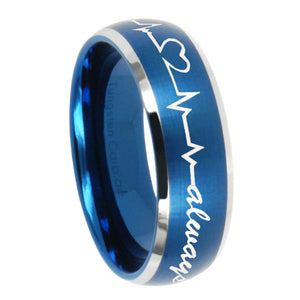 8mm Heart Beat forever Heart always Dome Brushed Blue 2 Tone Tungsten Men's Ring