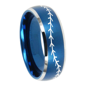 8mm Baseball Stitch Dome Brushed Blue 2 Tone Tungsten Carbide Wedding Band Ring