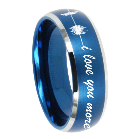 8mm Sound Wave, I love you more Dome Brushed Blue 2 Tone Tungsten Bands Ring