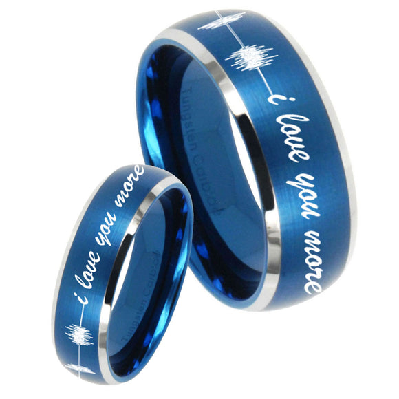 His Hers Sound Wave, I love you more Dome Brushed Blue 2 Tone Tungsten Men Rings Set