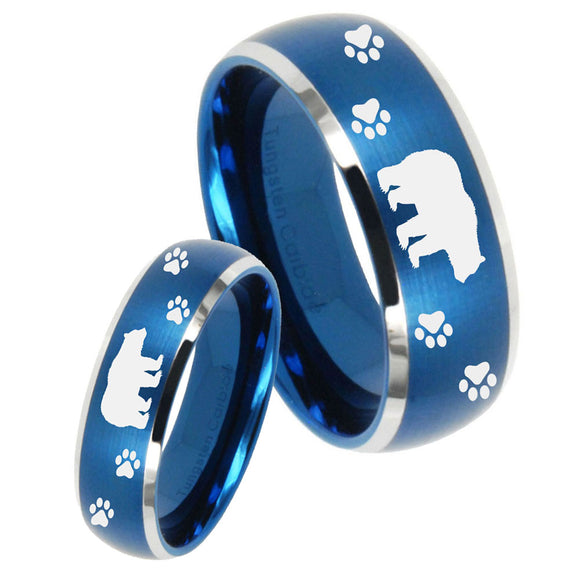 His Hers Bear and Paw Dome Brushed Blue 2 Tone Tungsten Mens Wedding Ring Set