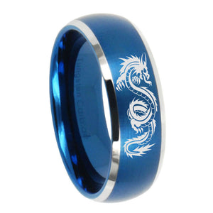 8mm Dragon Dome Brushed Blue 2 Tone Tungsten Carbide Men's Engagement Ring