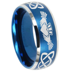 8mm Irish Claddagh Dome Brushed Blue 2 Tone Tungsten Carbide Mens Ring Personalized