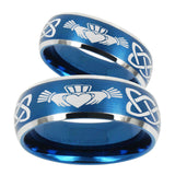 His Hers Irish Claddagh Dome Brushed Blue 2 Tone Tungsten Mens Wedding Ring Set