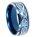 8mm Celtic Knot Dragon Dome Brushed Blue 2 Tone Tungsten Men's Band Ring