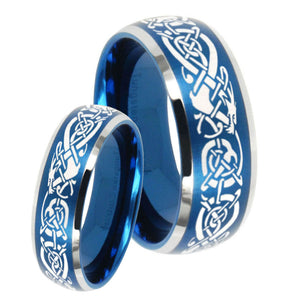 His Hers Celtic Knot Dragon Dome Brushed Blue 2 Tone Tungsten Mens Bands Ring Set