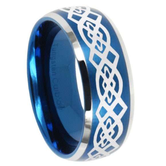 8mm Celtic Knot Dome Brushed Blue 2 Tone Tungsten Carbide Men's Bands Ring