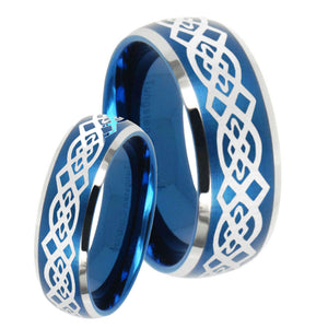 His Hers Celtic Knot Dome Brushed Blue 2 Tone Tungsten Mens Engagement Band Set