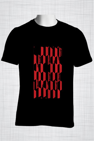 Plus Size Men's Clothing Red rectangles t-shirt AA0304