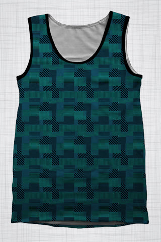 Plus Size Men's Clothing, Blue Shapes singlet AA0392