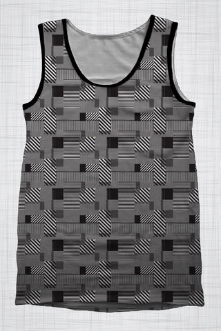 Plus Size Men's Clothing Black & White Mixed print singlet BB0087