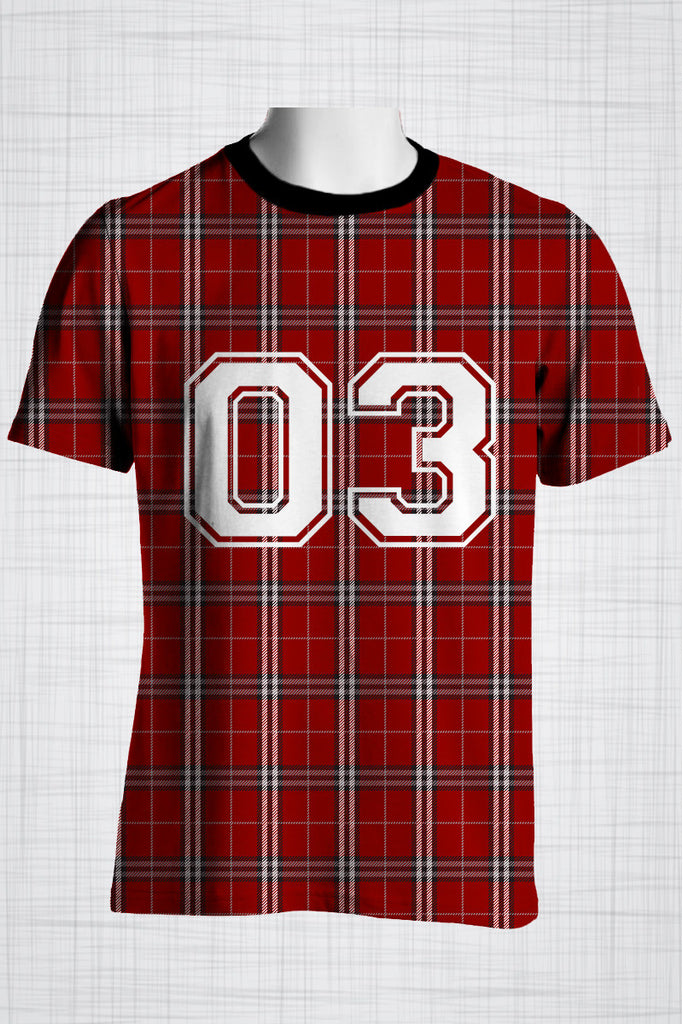Plus Size Men's Clothing Red plaid 03 t-shirt BB0143