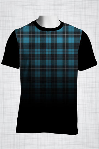 Plus Size Men's Clothing Blue plaid crewneck t-shirt