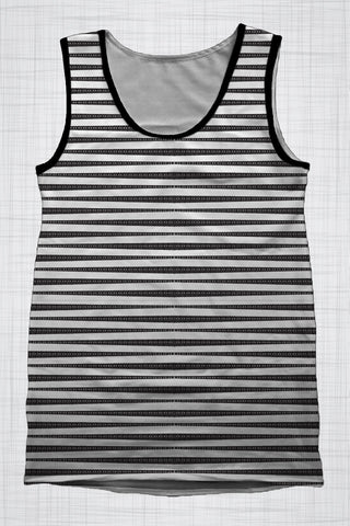 Plus Size Men's Clothing Black & White Stripe singlet BB0249