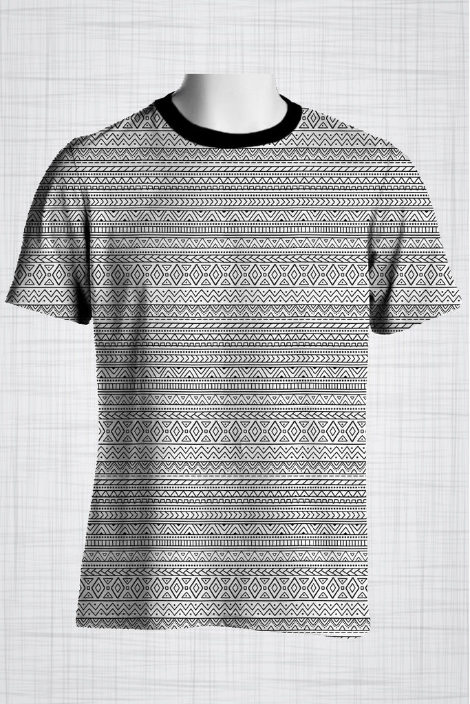Plus Size Men's Clothing B&W Fine Line Tribal t-shirt