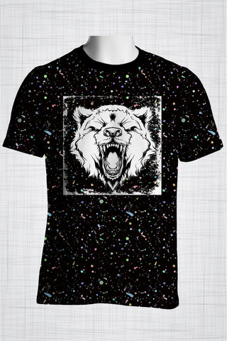 Plus Size Men's Clothing Black Wild Bear T-shirt