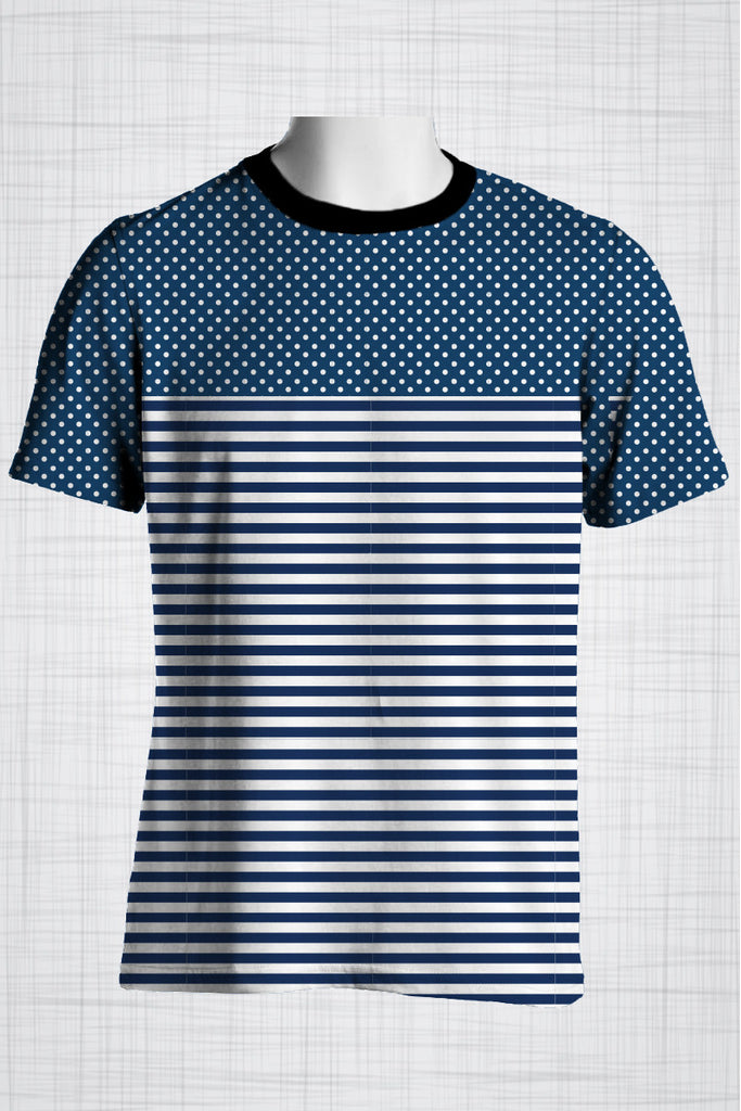 Plus Size Men's Clothing Nautical Polka Dots & Stripes t-shirt