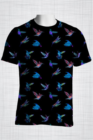 Plus Size Men's Clothing Blue Hummingbird t-shirt